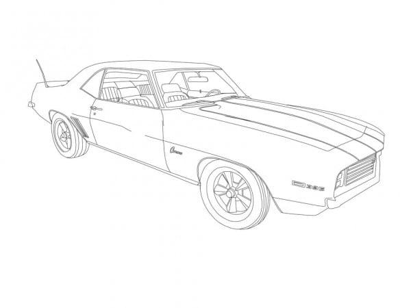 1969 Chevrolet Z28 Camaro Ss 396 V8 Drawing (bnw) By