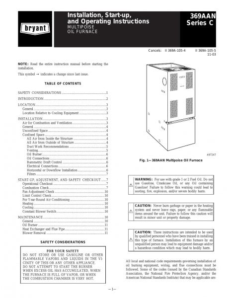 Bryant Multipurpose Oil 369aan User Manual