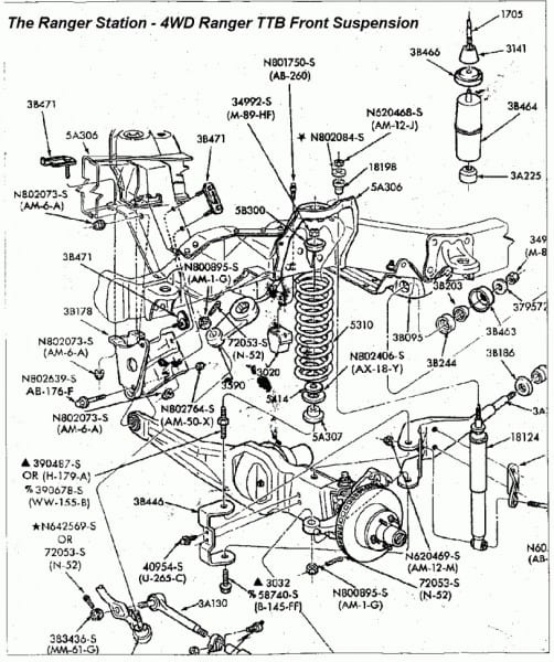 1994 Ford Ranger Front Suspension Diagram