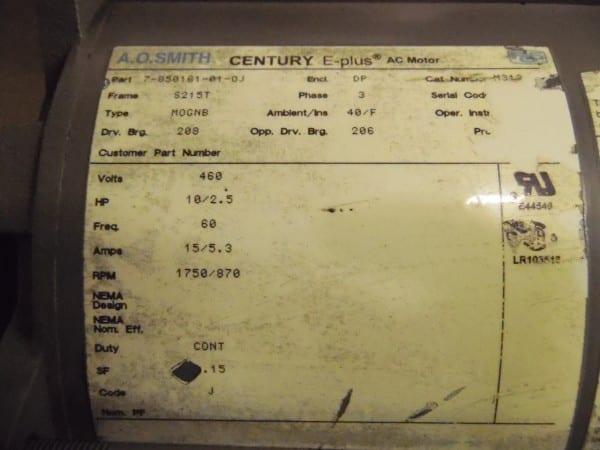 10 2 5 Hp S215t Frame 460 Volt 1750 Rpm Ac Motor