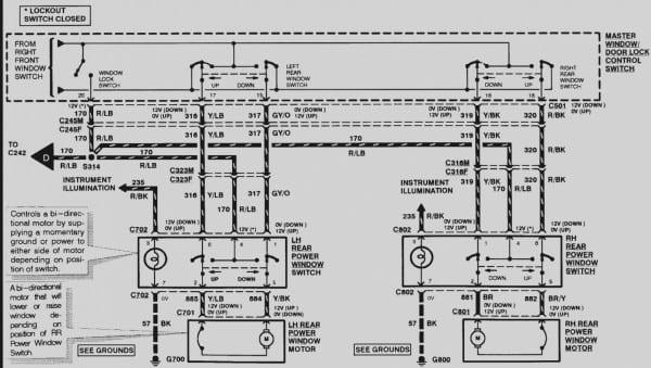 1998 Ford Explorer Drivers Door Wire Diagram