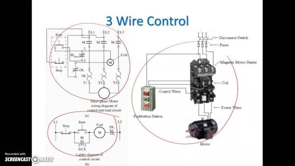 Ladder Diagram Basics  3 (2 Wire & 3 Wire Motor Control Circuit