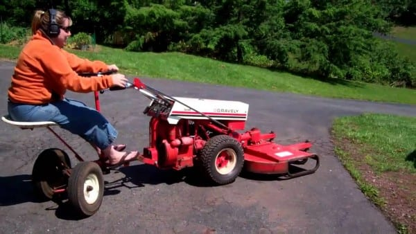 Wife Drivin' The Gravely 546 With The Steering Sulky