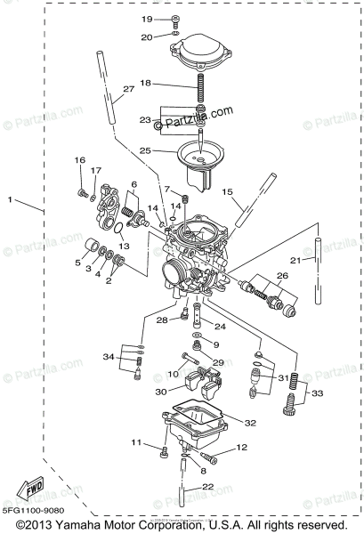 Yamaha Motorcycle 2002 Oem Parts Diagram For Carburetor