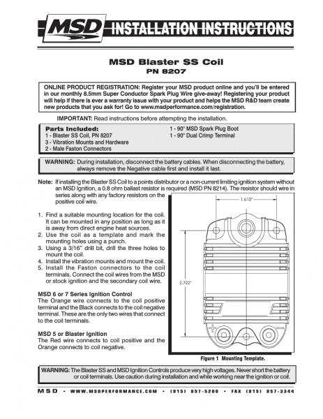 Msd 8207 Blaster Ss Coil Installation User Manual