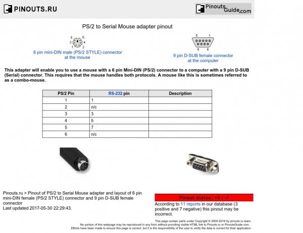 Ps To Serial Mouse Adapter Pinout Diagram Pinoutguid On  E  A View