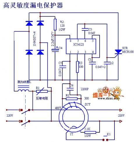 Earth Leakage Detector Circuit Diagram