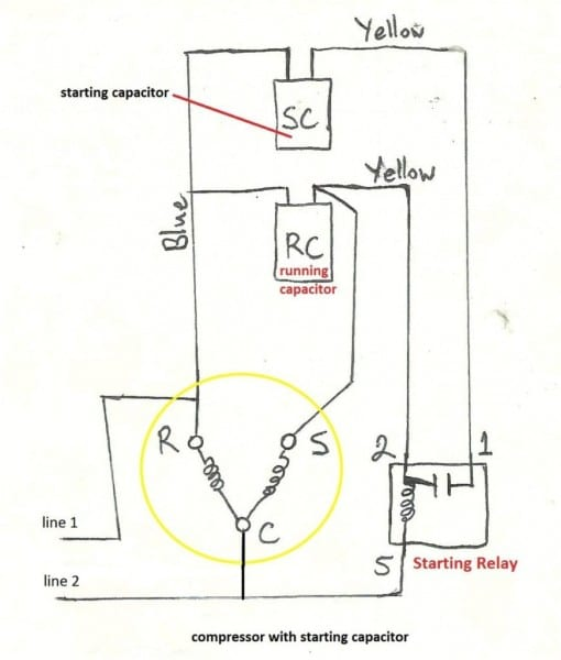 Starting Capacitor Wiring Diagram Motorer Run Air Conditioner 1024
