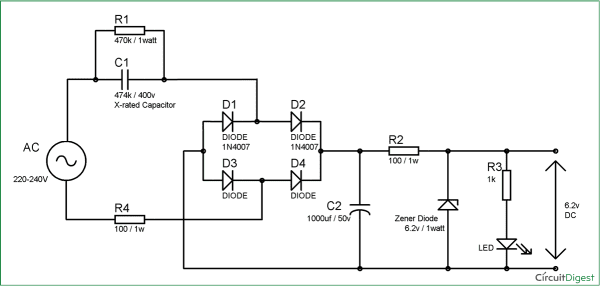 9v Battery Charger Circuit Without Transformer