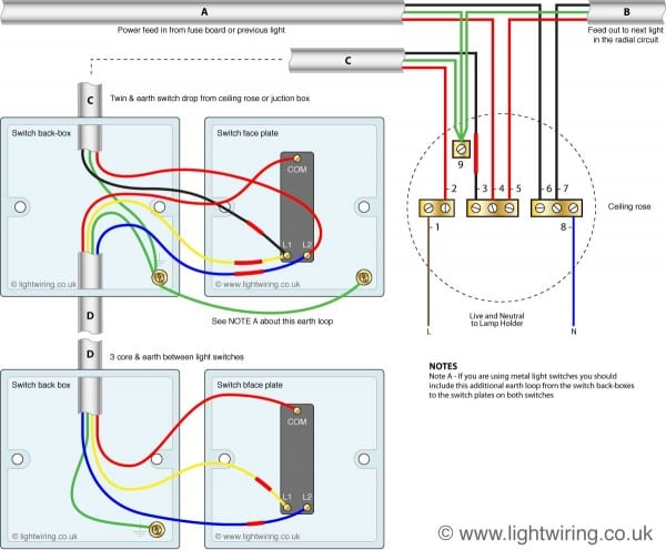 Wiring Diagram For 2 Way Switch Uk
