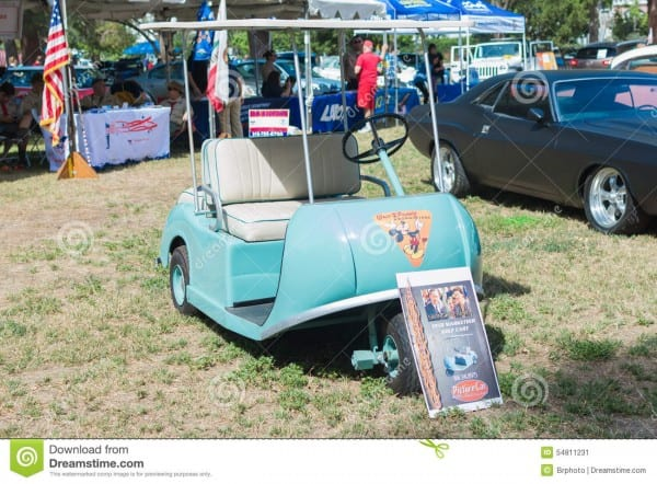 Walt Disney Marketeer Golf Cart On Display Editorial Photo
