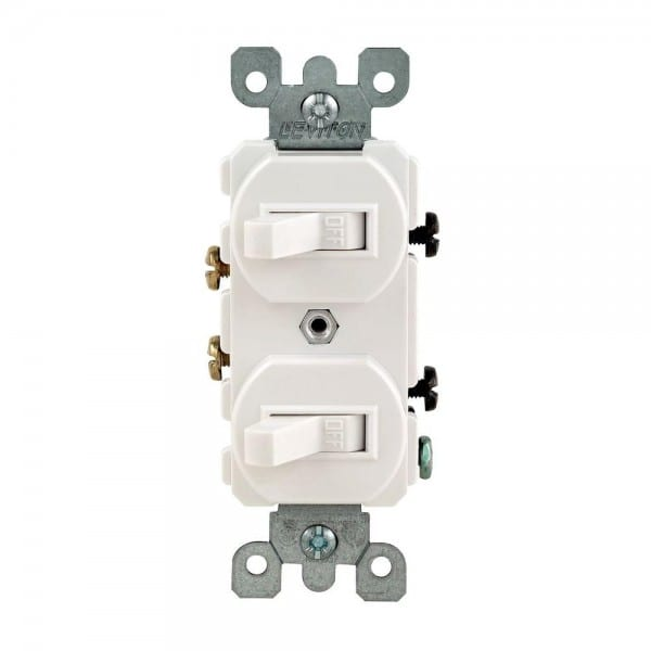 Leviton 15 Amp Combination Double Rocker Switch, White