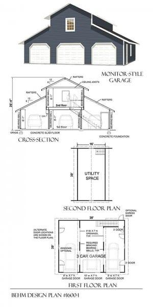 3 Car Loft Designer Garage Plans Blueprints 1600