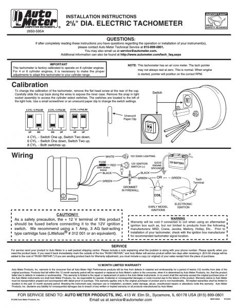 Auto Meter 2893 User Manual