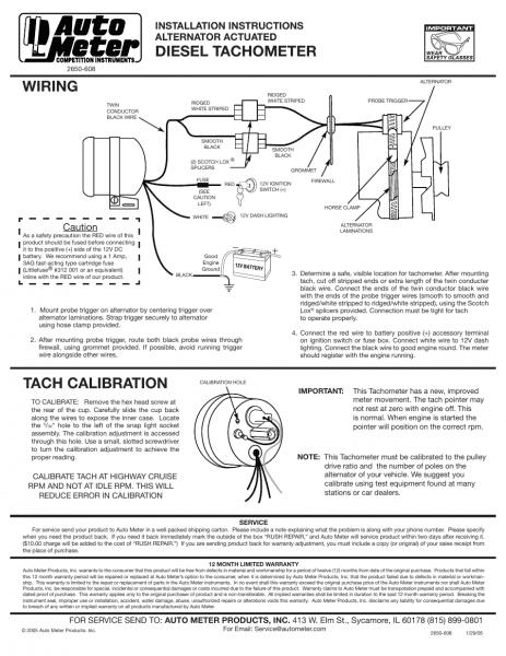 Auto Meter 3788 User Manual