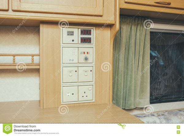 On The Road! Mobile Home Light Switches Stock Photo