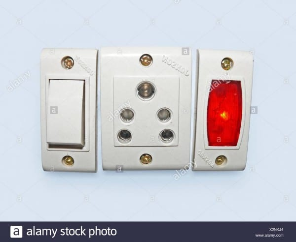 Switch Board With On Off Switches, 3 Pin Sockets Stock Photo