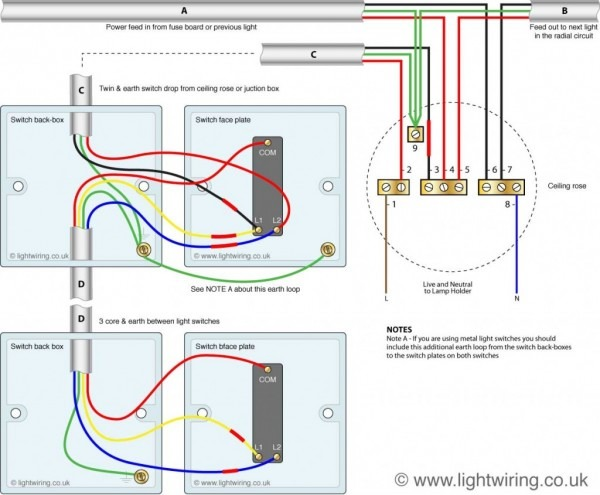 2 Way Switch (3 Wire System, Old Cable Colours)
