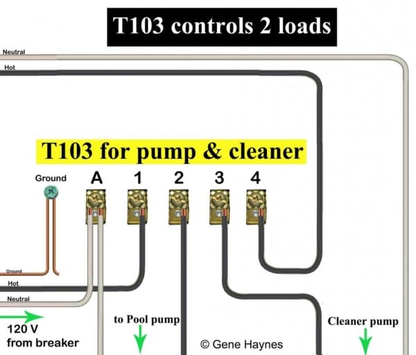 Wire T103 With 2 Breakers 120 Swimming Pool Timer Wiring Diagram