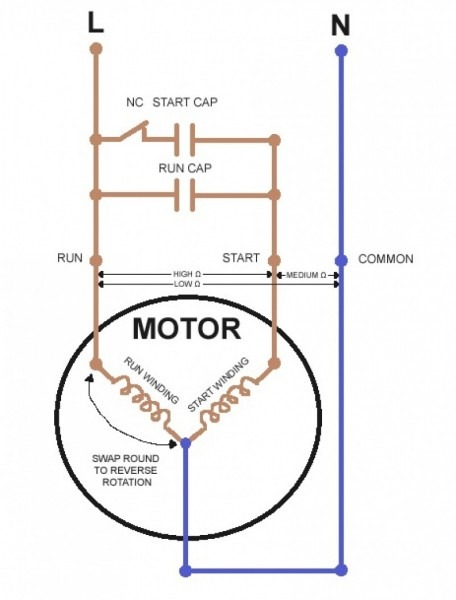 Wiring Diagram For Reversing Single Phase Motor And With Capacitor