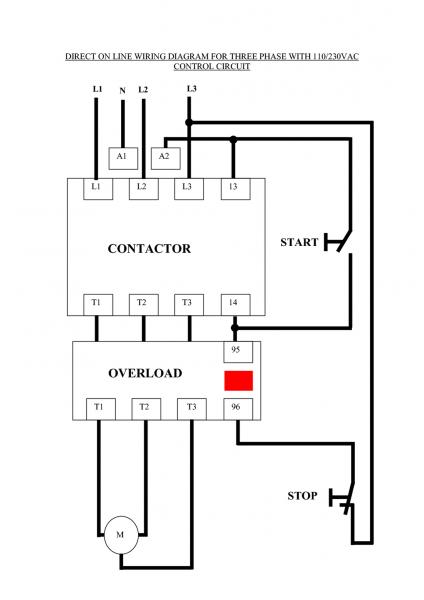 Three Phase Dol Starter Wiring Diagram Component Single Motor