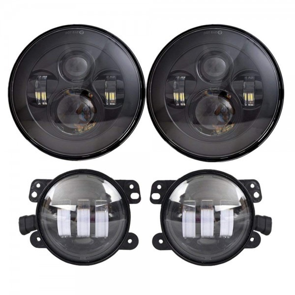 Amazon Com  Dot Approved 7'' Black Led Headlights + 4 ''cree Led