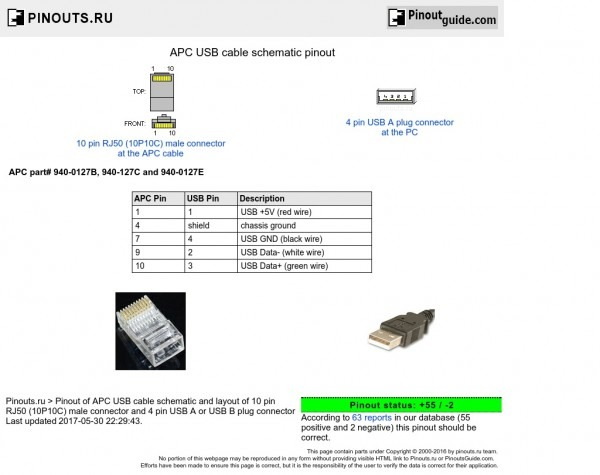 Apc Usb Cable Schematic Pinout Diagram @ Pinoutguide Com