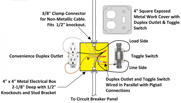 Wiring A Light Switch And Outlet Together Diagram