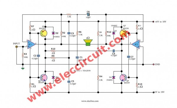 Elegant Tda Amplifier Circuit Diagram Series Power Circuits Wiring