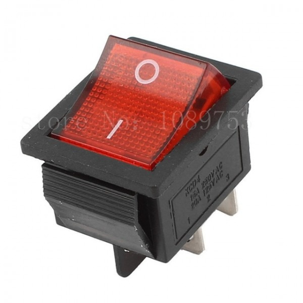 Kcd4 Dpst 4pin 2 Position On Off Rocker Switch Red Light Ac 15a