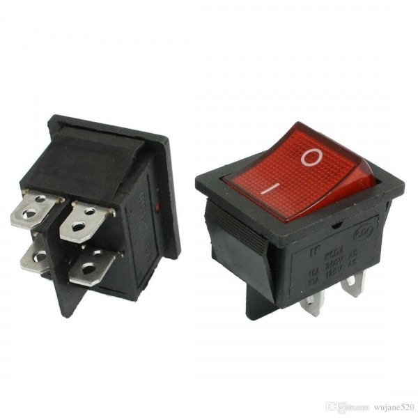 Kcd4 Rocker Switch Dpst 4 Pins On