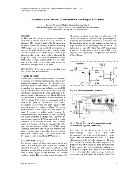 Pdf) Implementation Of Low Cost Microcontroller Based Digital Rpm