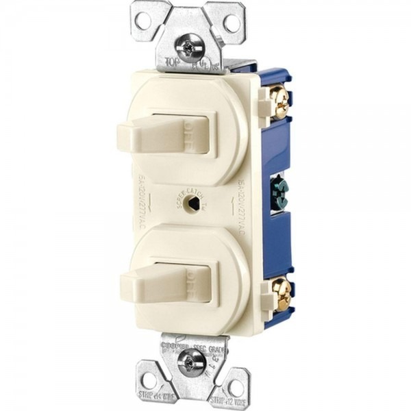 Eaton Commercial Grade 15 Amp Single Pole 2 Toggle Switches With