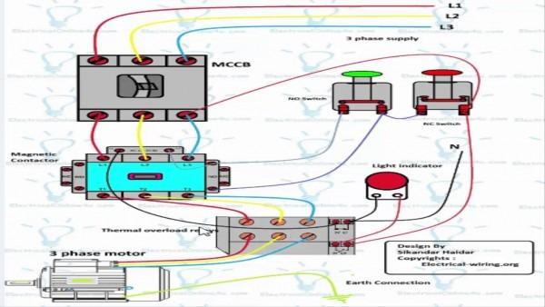 3 Phase Dol Starter Wiring Diagram (urdu Hindi)