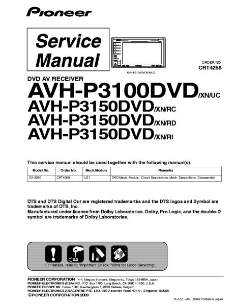 Pioneer Avh P3100dvd Manual