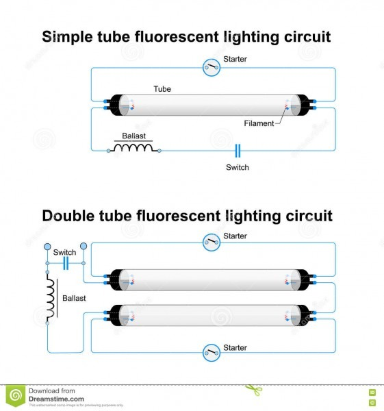 Single And Double Tube Fluorescent Lighting Circuit Stock Vector