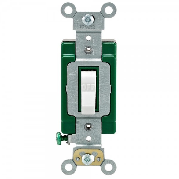 Leviton 30 Amp Industrial Double Pole Switch, White