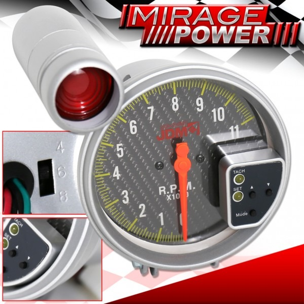 11k Rpm 5  Jdm Tachometer Carbon Fiber Auto Meter Gauge With Red
