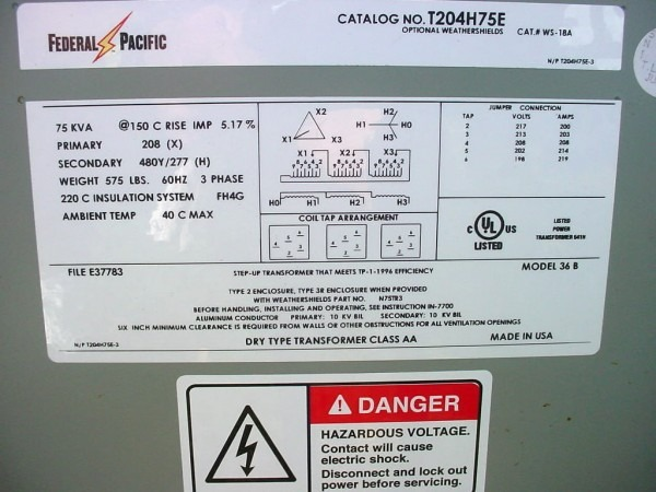 Federal Pacific 75 Kva Transformer Step Up 75 Kva  U2013 Car