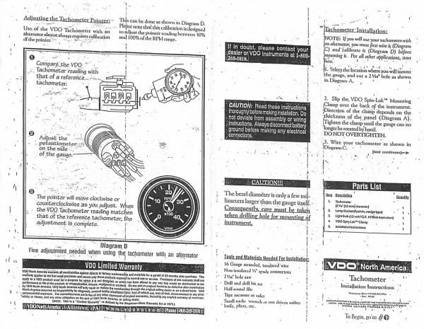 thesamba com vdo tachometer instructions  u2013 car wiring diagram