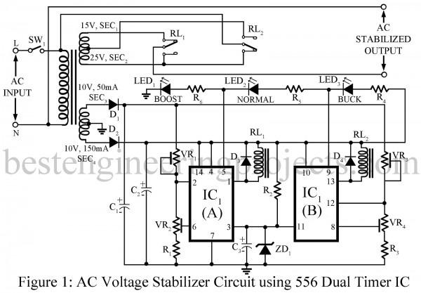 Ac Voltage Stabilizer Circuit Using 556 Ic