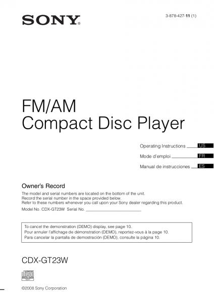 Download Free Pdf For Sony Xplod Cdx