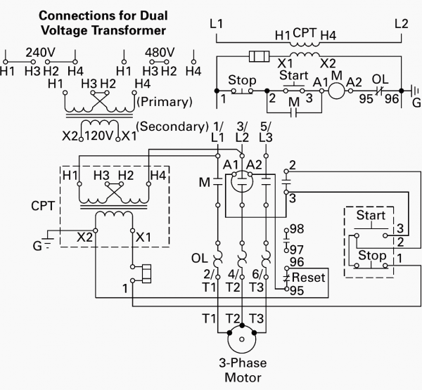 Wiring Of Control Power Transformer For Motor Control Circuits