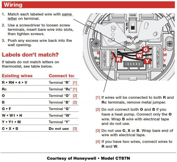 Honeywell Thermostat Ct87n