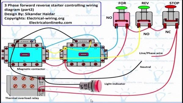 Reverse Forward Motor Control Circuit Diagram For 3 Phase (hindi