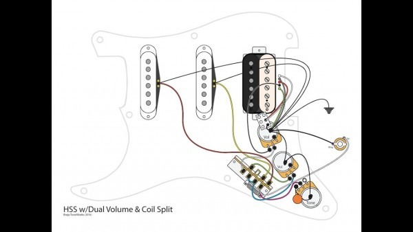 Hss Guitar W Dual Volumes, Master Tone And Coil Split