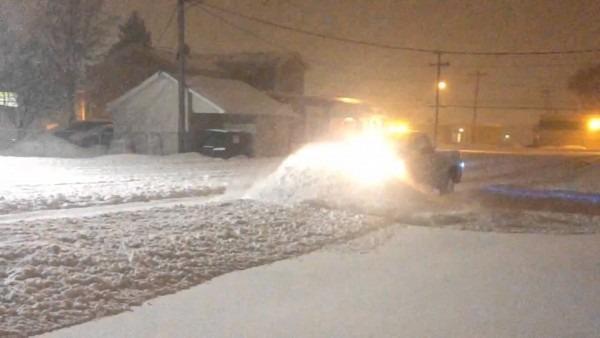 Snowplowing In Blizzard