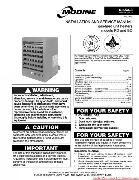 Modine Heater Troubleshooting