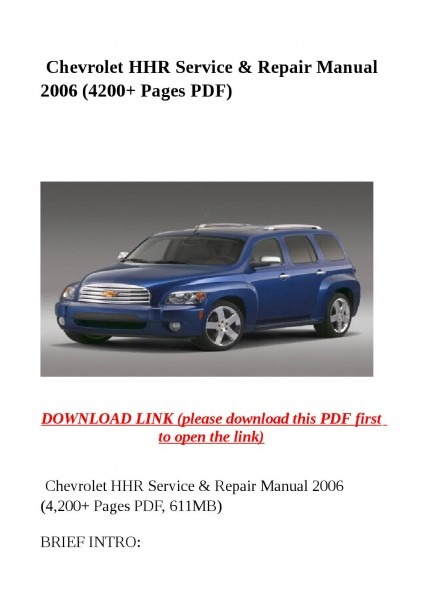 Chevrolet Hhr Service & Repair Manual 2006 (4200 Pages Pdf) By