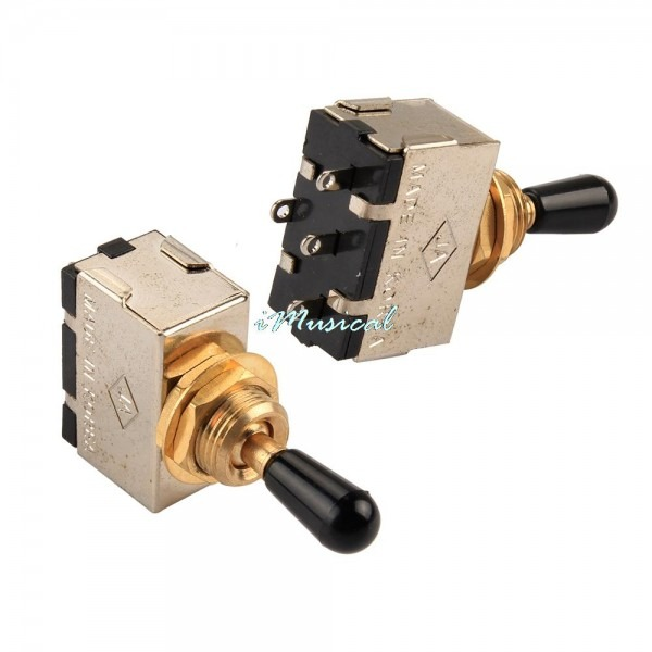 1pc 3 Way Toggle Switch For Electric Guitar Bass With Black Knob
